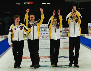 Team Manitoba celebrates their win at the men's final. (L-R) Manitoba skip Braden Calvert, Manitoba third Kyle Kurz, Manitoba second Lucas Van Den Bosch and Manitoba lead Brendan Calvert. | by seasonofchampions