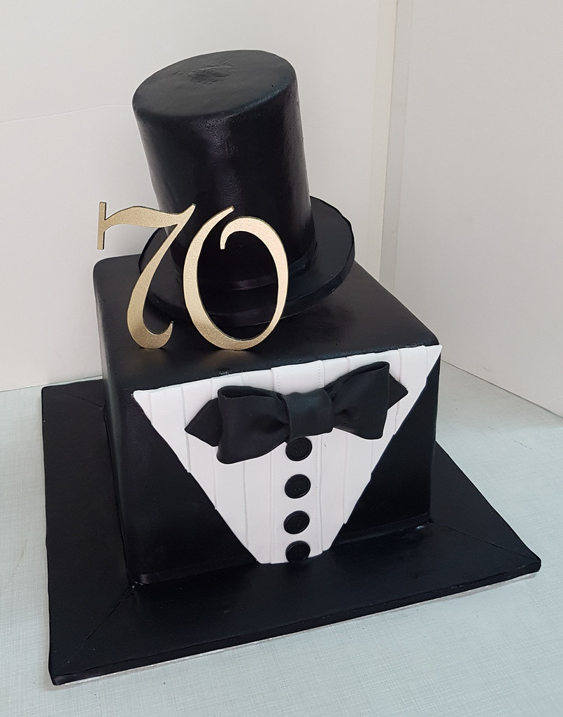 Suit And Top Hat Shaped 70th Birthday Cake