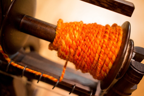 My third handspun yarn, during plying | by Terriko