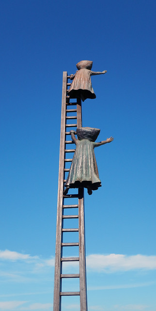 Bustamente's 'Pillowhead People on a Ladder' on Puerto Vallarta's Malecon, Mexico