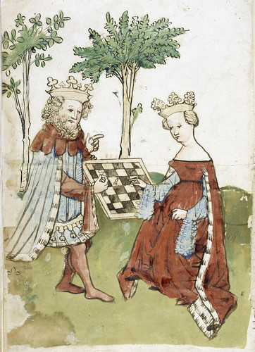 Das Schachzabelbuch - caption: 'King and queen playing chess' | by The British Library