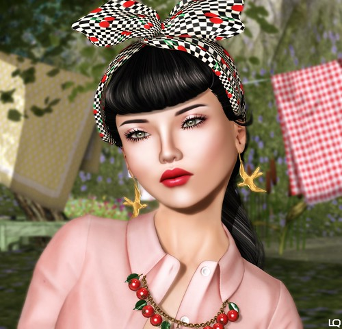 C88 May -Glam Affair - Coral, LaGyo Mary Bow Bandana Cherries & Swallow Earrings, and (Yummy) Cherry Necklace | by Lila Quander