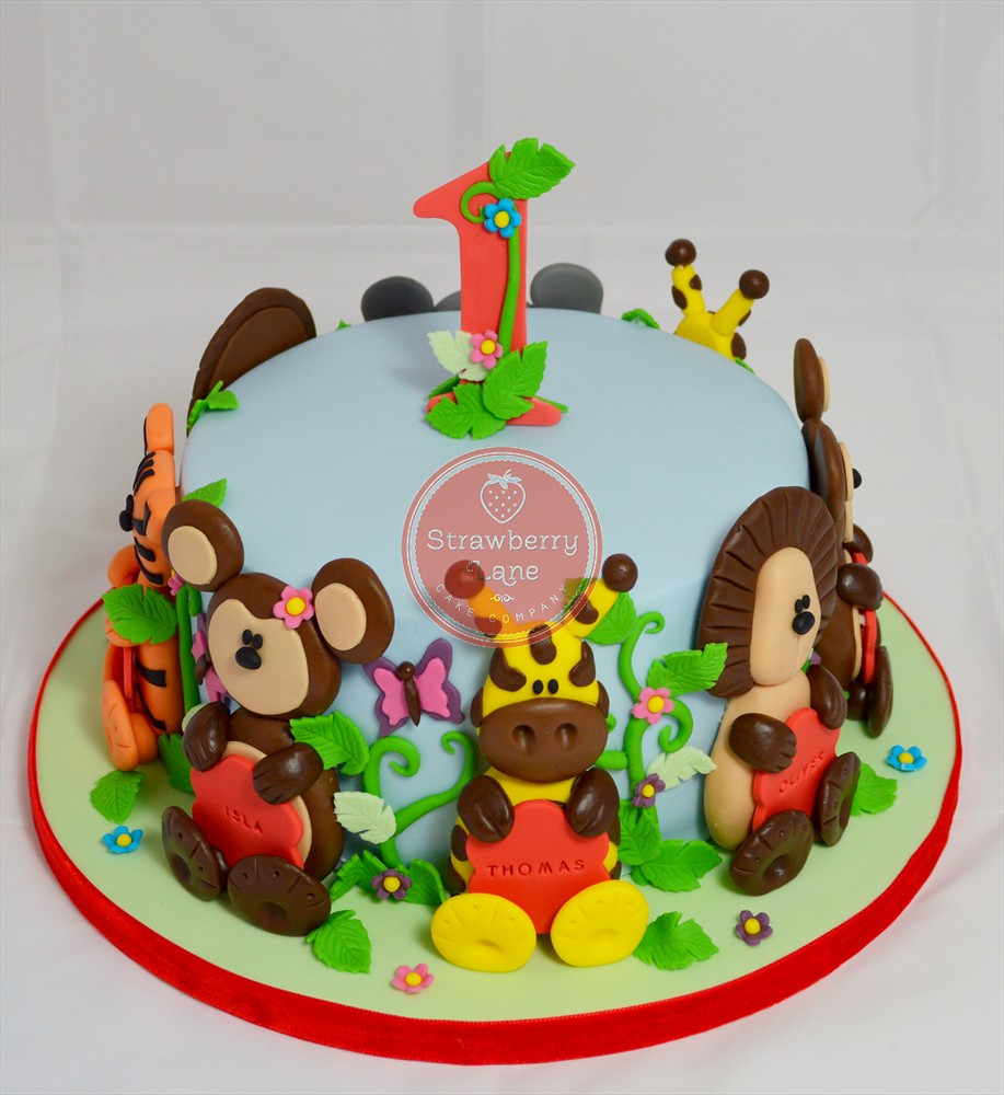 Jungle Animal Themed Joint 1st Birthday Cake Made For A Jo Flickr