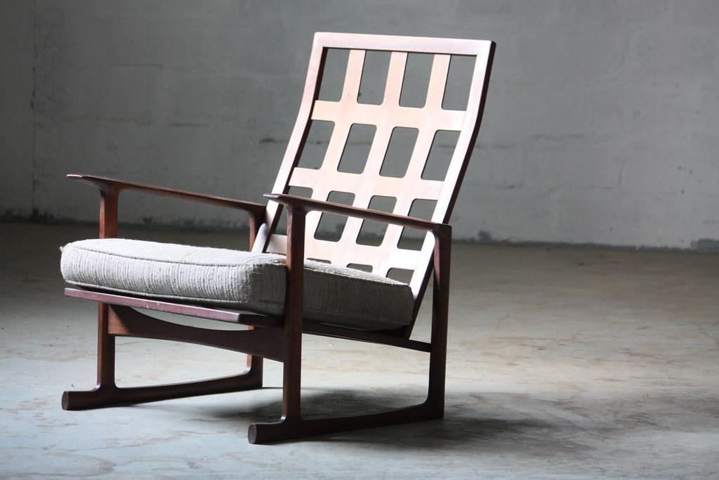 ... Stellar Danish Mid Century Modern Ib Kofod Larsen Lattice Back Lounge  Chair For Selig (Denmark