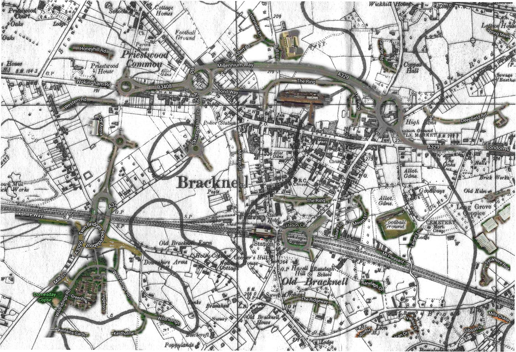 1940 Map of Bracknell overlaid with some of the modern roa Flickr