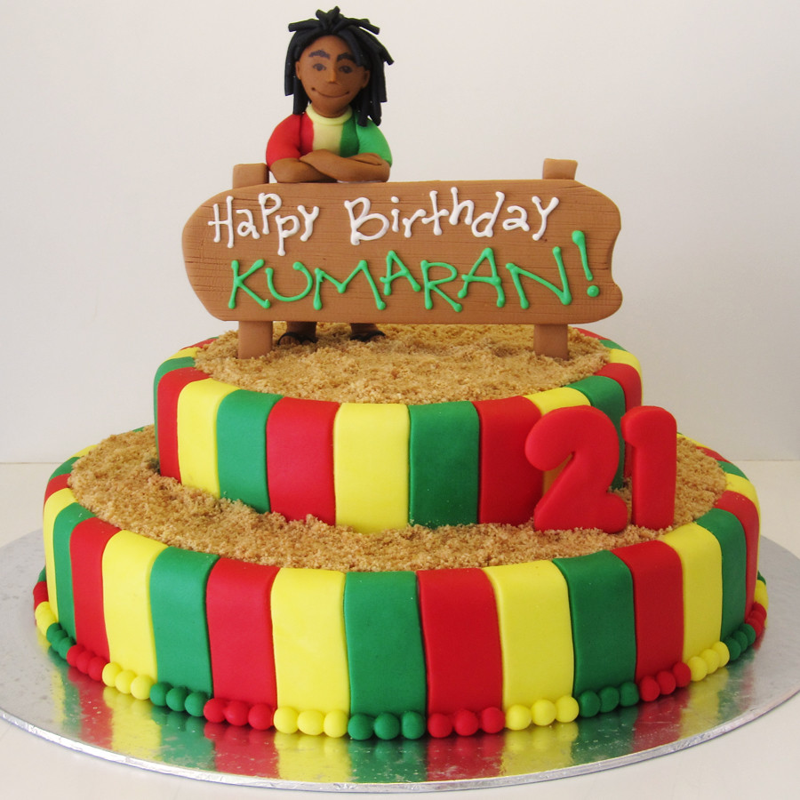 rasta rastafarian themed cake for a guy who keeps dreadloc Flickr
