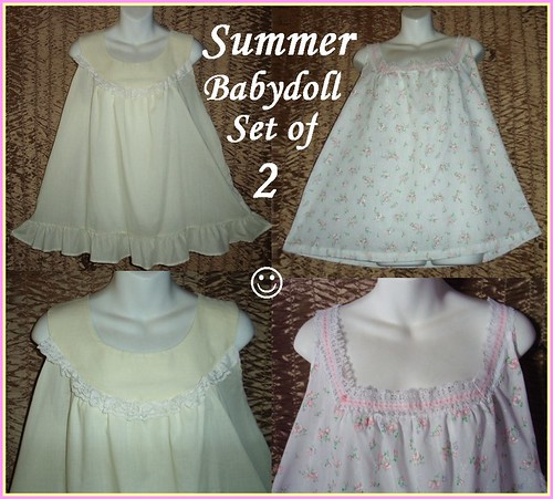 Girly Fem Vintage Adult Baby Doll Nightgown Lot Of 2 Shor -9105