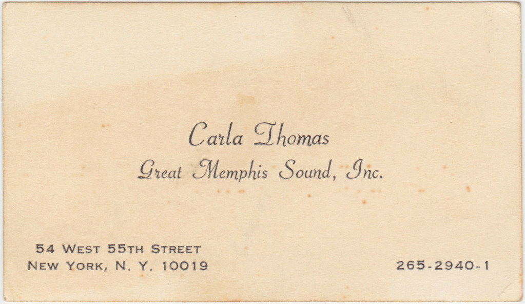 1960s Carla Thomas business card | ⓑⓘⓡⓒⓗ from memphis | Flickr