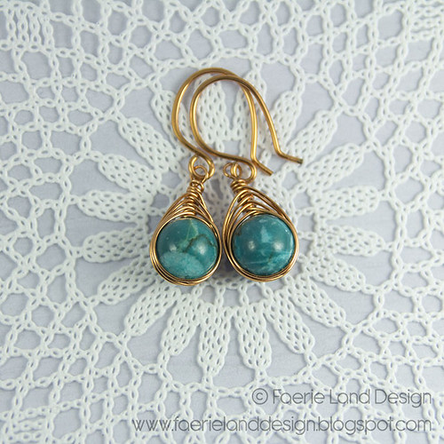 Orecchini wire herringbone - copper & turquoise