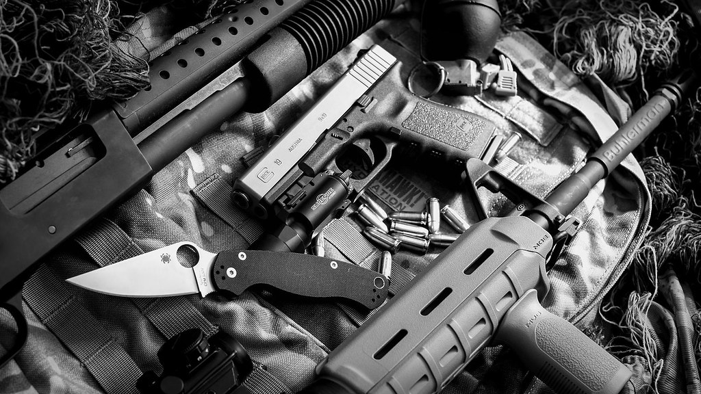 Tactical Still Life BW Wallpaper