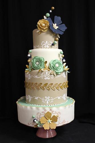 Navy Gold Burgundy Wedding Cake