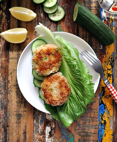 Tuna, Pea & Potato Patties - Served San Choy Bao Style | www.fussfreecooking.com | by fussfreecooking