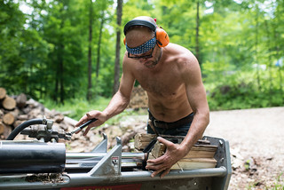 Johnathan Splitting Wood | by goingslowly