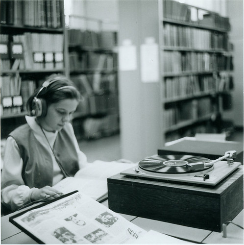 Student Listening to a Record at the Library, 1969 | by lizkentleon