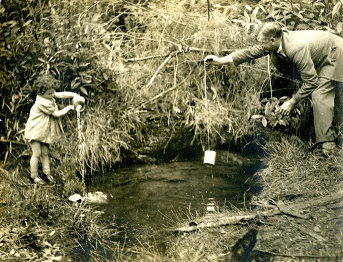 Meg Turner with Bert Honeysett at the Springwood Spring | by Blue Mountains Library, Local Studies