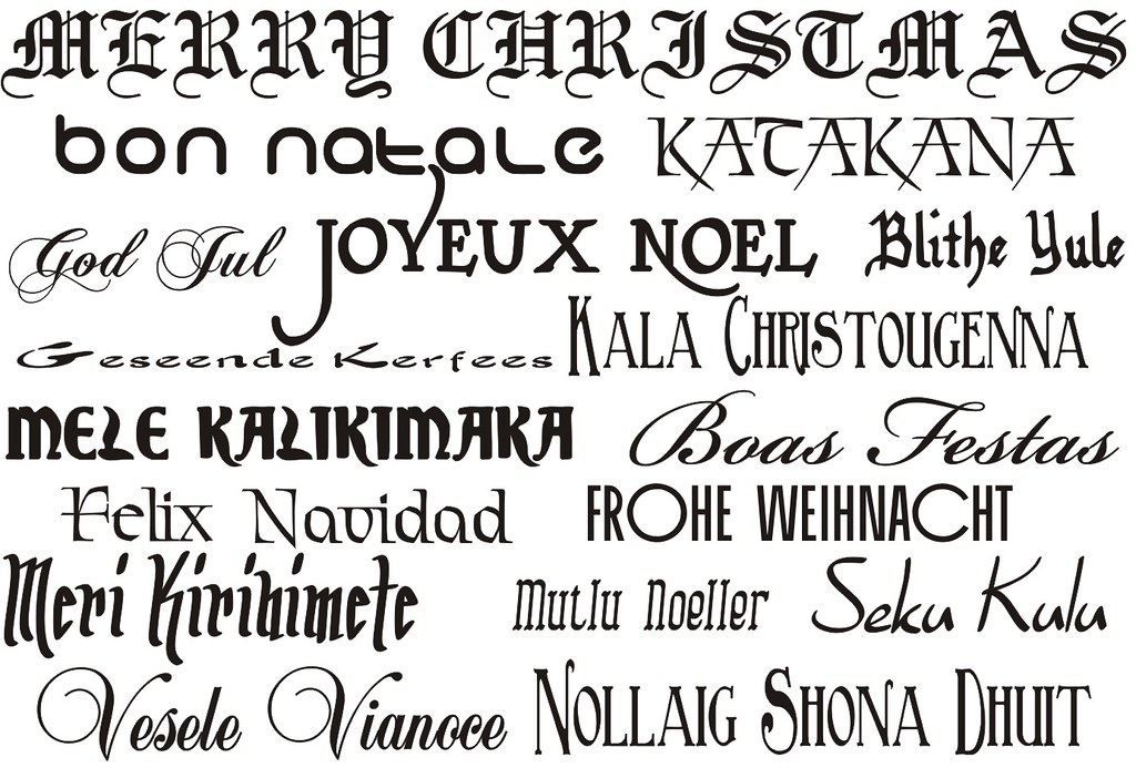merry christmas in different languages by dennis s hurd