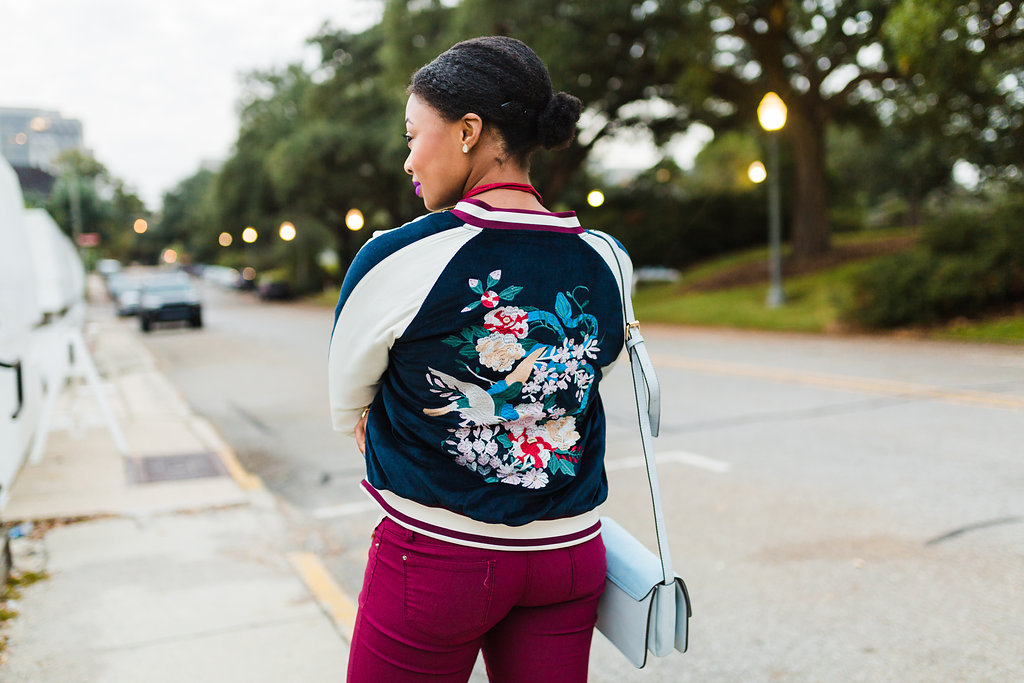 how to wear an embroidered bomber jacket