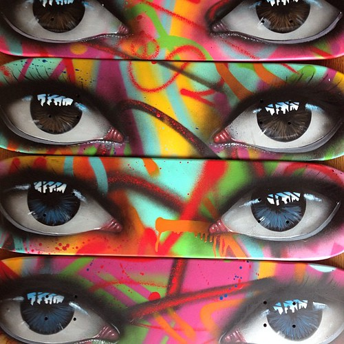 Skate decks ready to be released at  #bristolcan | by my dog sighs