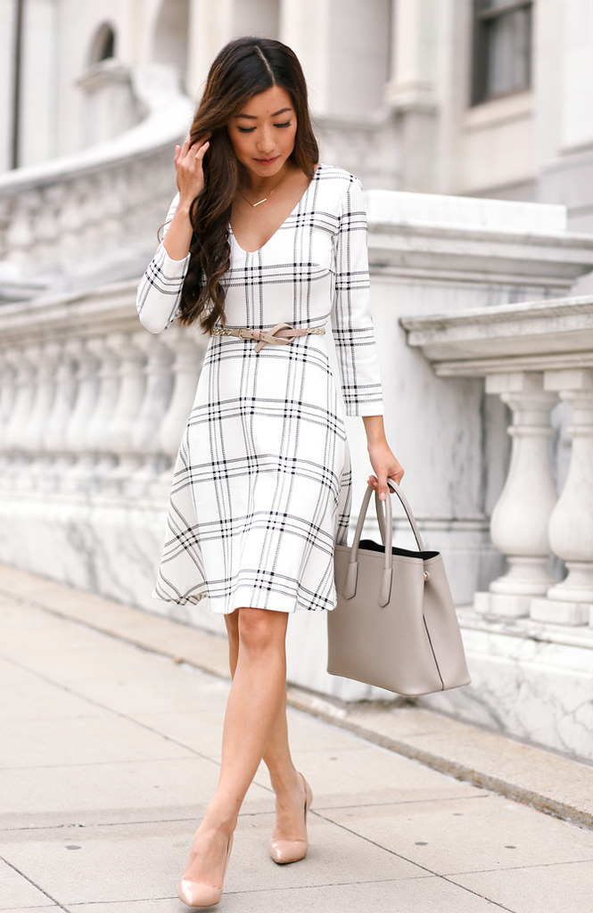 white flare A line dress elegant work outfit