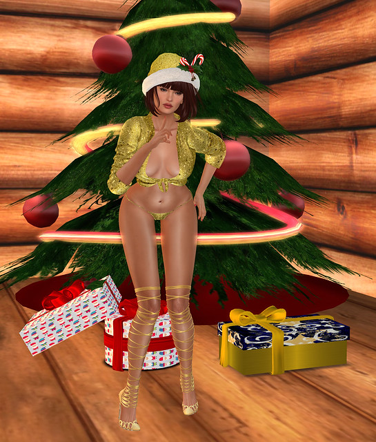 Tied top and panties, Carries Lingerie + Candy cane Santa hat gacha
