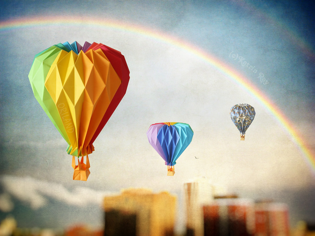 Double rainbow origami balloon ride saw a magic double rai flickr double rainbow origami balloon ride by katrin ray jeuxipadfo Choice Image