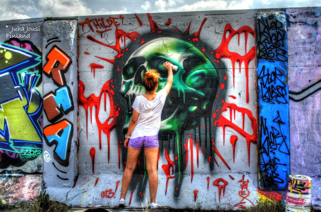 spray can art skull juha jousi flickr