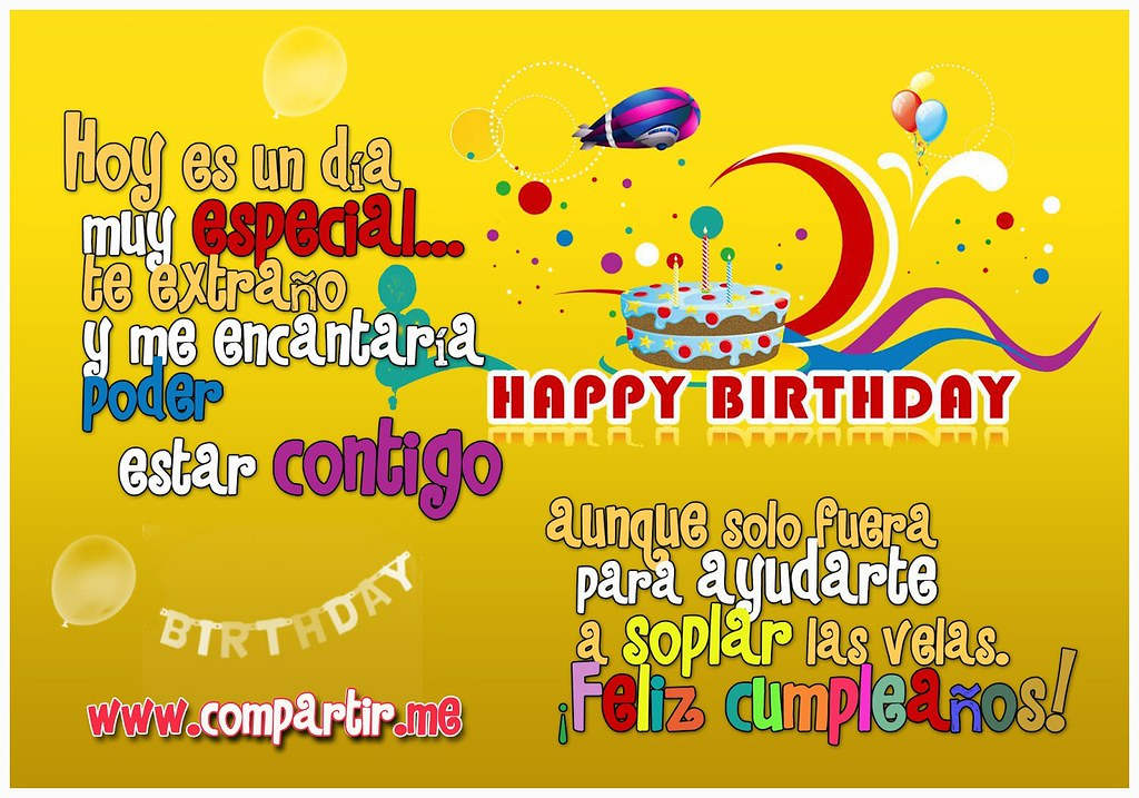 Frases De Amor Postal De Feliz Cumpleanos Con Frase Hoy E Flickr