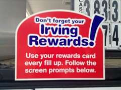 irving gas rewards card sign by jeepersmedia - Irving Rewards Card