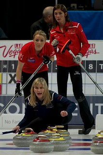 Erika Brown calls line as Anna Sloan and Eve Muirhead look on | by seasonofchampions