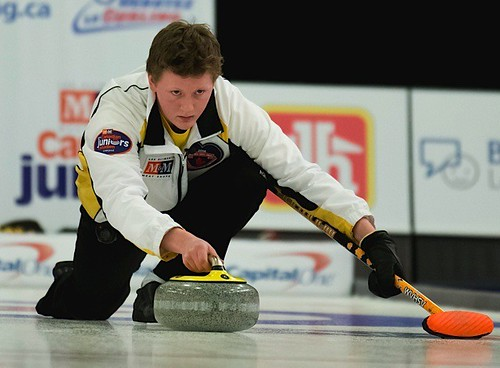 Manitoba skip Braden Calvert throws a stone during the men's final. | by seasonofchampions