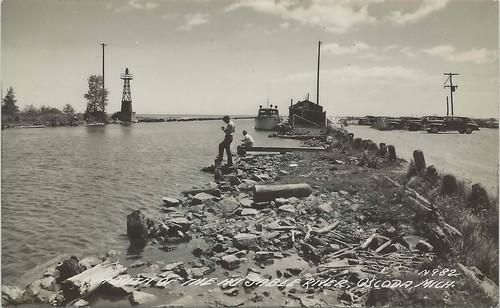 Ne oscoda mi rppc 1930s lighthouse pier swim beach fun c for Harrison fishing pier