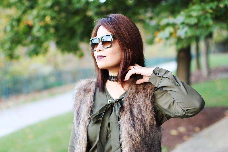 choker-olive-green-bow-blouse-lace-up-top-faux-fur-vest-3
