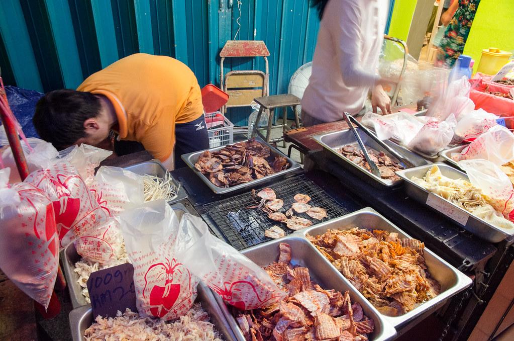 Grilled squids at Jonker Street Melaka.