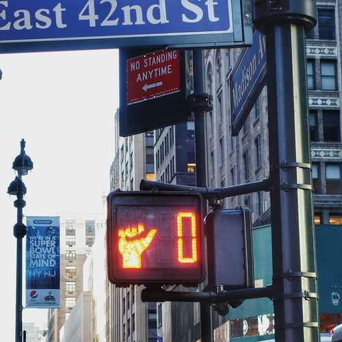 Hacked Don't Walk sign on Madison & 42nd #walkingtoworktoday | by Michael Surtees