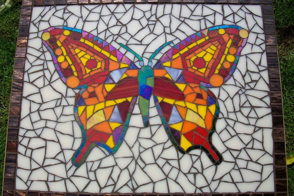 ... Grouted Butterfly Mosaic Coffee Table. Stained Glass And Gold Streaked  Tiles | By Fiona Parkes