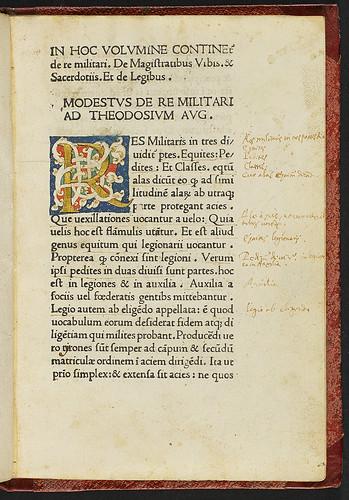 Modestus [pseudo-]: De vocabulis rei militaris - Illuminated initial