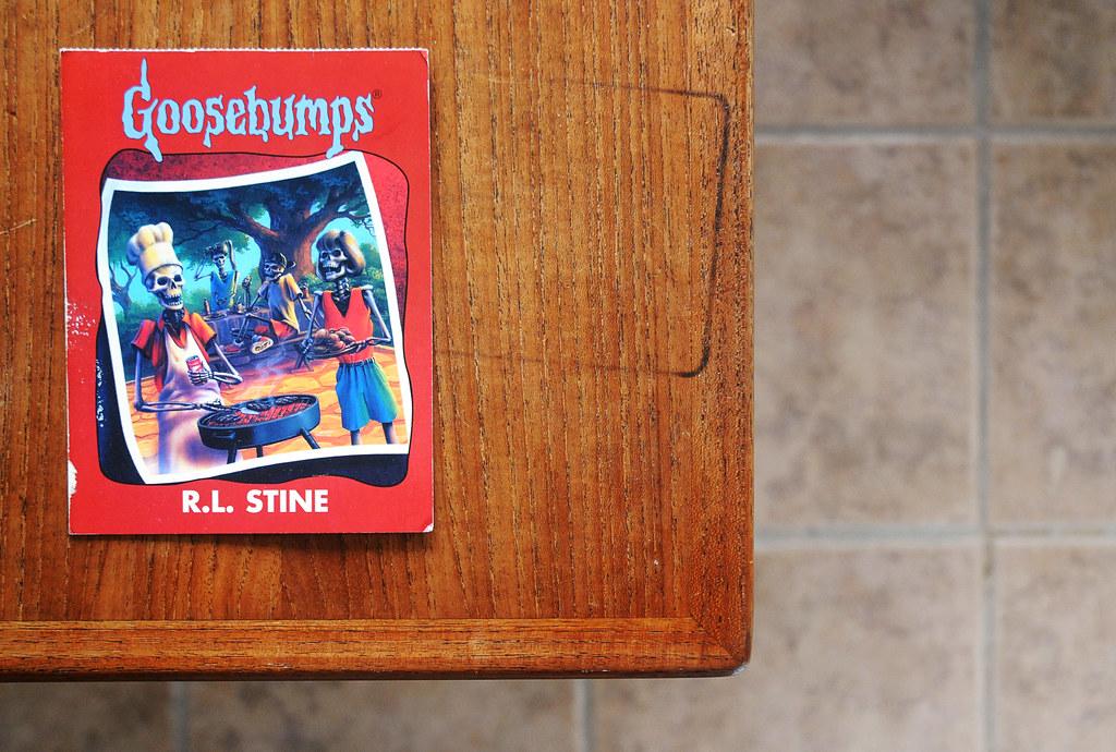 Goosebumps teak wood post card