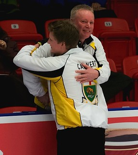 Manitoba skip Braden Calvert gets a hug from his father Grant Calvert after winning the men's final. | by seasonofchampions