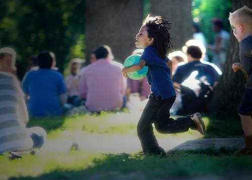 White Kid Football Dance
