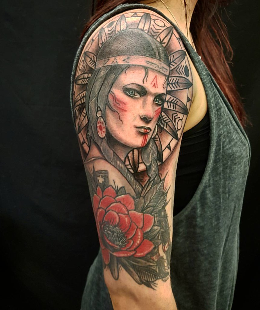 Native American Indian Girl Tattoo Sleeve In Progress By G Flickr