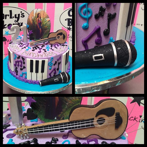 Music Themed 21st Birthday Cake With Guitar, Microphone