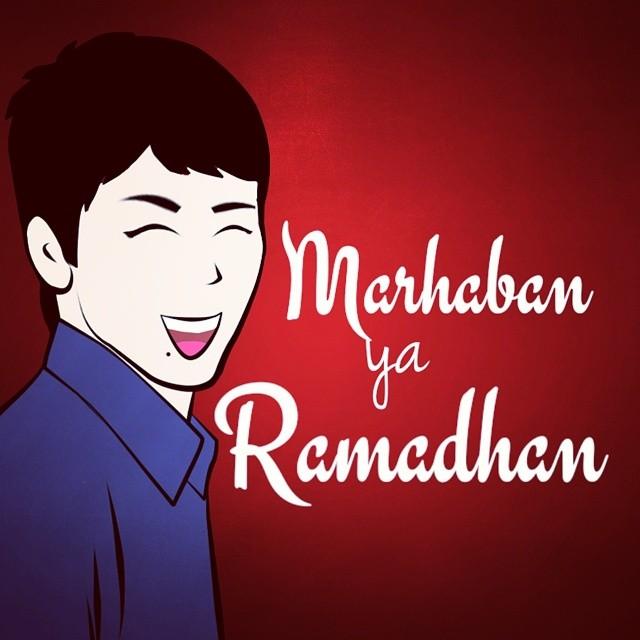 Marhaban Ya Ramadhan Puasa Islam Carton Vectore Anime