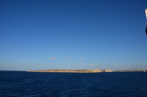 Blick nach Gozo in der Abenddämmerung