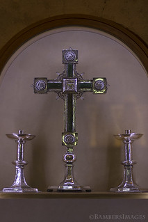 Crucifix and candle sticks. | by BambersImages