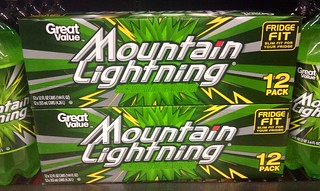 Mountain Dew MTN Dew Knock-off knockoff Mountain Lightning at Walmart stores 5/2014 Pics by Mike Mozart of TheToyChannel and JeepersMedia on YouTube. Mountain Lightning, Walmart Store Brand, #MountainDew #MTNDew #MountainLightning #WalmartStore | by JeepersMedia