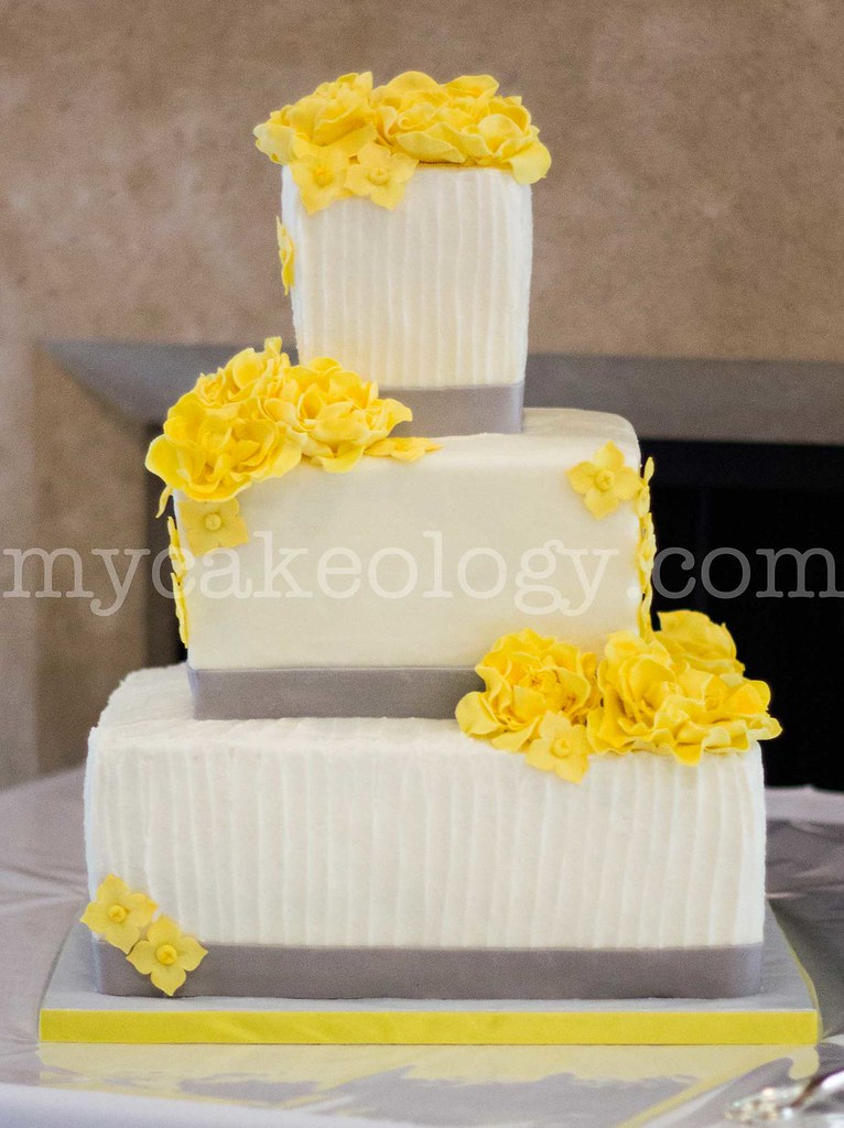 Yellow and Grey Wedding Cake | the cakeologist | Flickr
