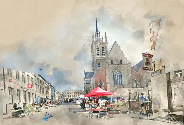 2016 - Grand place d'Enghien - Aquarelle