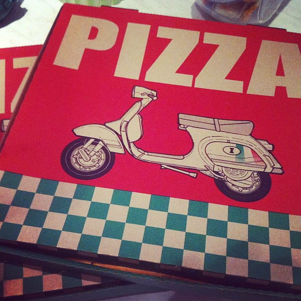 Pizzabox Pizza Vespa Scooter Vintage Italia