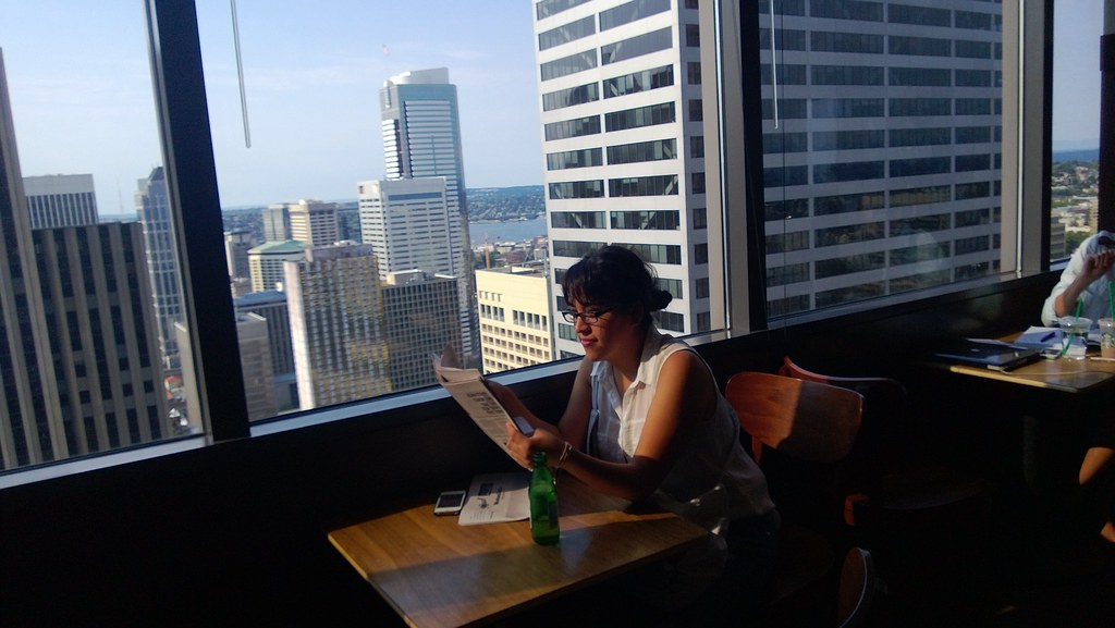 Enjoying the view of downtown in the Starbucks inside the Columbia Tower