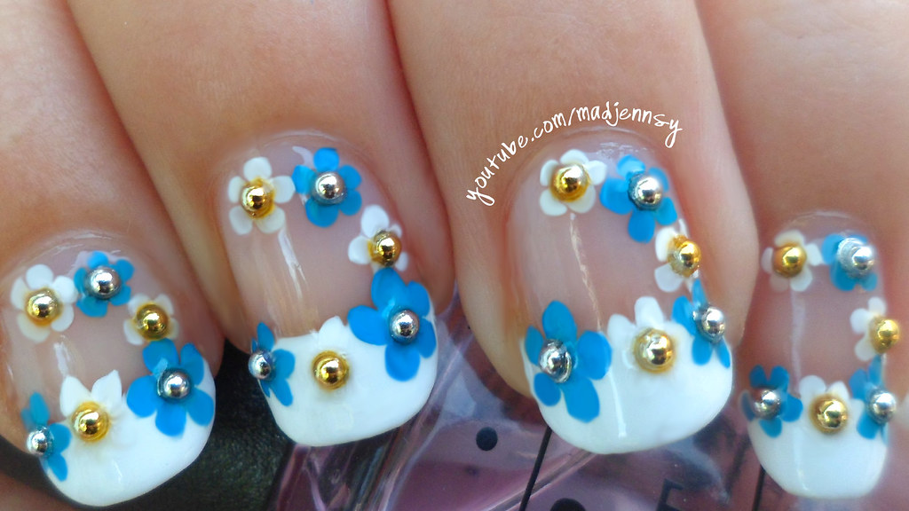 Classy French Manicure with a Floral Twist Nail Art | Flickr